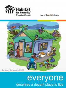 Cover of the April 2020 Newsletter - A cartoon drawing of a simple house, showing the various ways people of all ages and abilities can practice Healthy Housing Habits