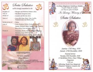 Front and back cover of funeral programme for Seeta Sahatoo, featuring photos and family information